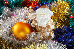 Santa claus with bauble Royalty Free Stock Image