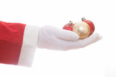 Santa claus with baubles Royalty Free Stock Photo