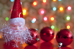 Santa claus and baubles in christmas Stock Images