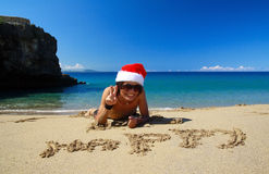 Santa Claus on beach Royalty Free Stock Photography