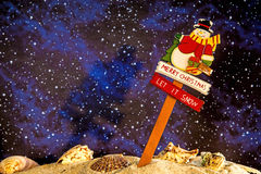 Santa Claus on a beach at night. With a starry sky stock photo