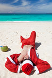 Santa Claus on beach relaxing. Enjoing summer stock image