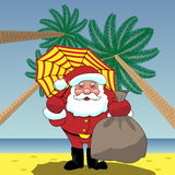 Santa Claus on the beach in Rio. Happy new year. Merry Christmas. Hot countries Royalty Free Stock Photography