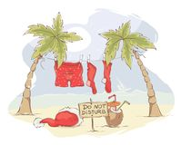 Santa Claus beach vacation Royalty Free Stock Photo