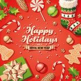 Santa Claus Beard Card Immagini Stock