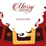 Santa Claus beard closeup. Greeting card. Vector Illustration Stock Photography