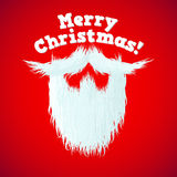 Santa Claus beard with hair and Merry Christmas lettering Stock Image