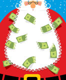 Santa Claus Beard money. Christmas wealth. New years character w Stock Photography