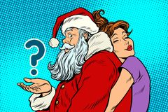 Santa Claus and beautiful woman, a surprise Christmas gift royalty free illustration