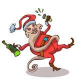 Santa Claus bebida feliz con una botella y un vidrio Imagen de archivo