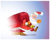 Santa Claus beeilt sich von der Reise mit Geschenken Stockfoto
