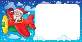 Santa Claus in beeld 2 van het vliegtuigthema Royalty-vrije Stock Foto's