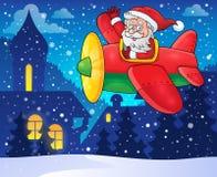 Santa Claus in beeld 4 van het vliegtuigthema Royalty-vrije Stock Foto