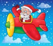 Santa Claus in beeld 3 van het vliegtuigthema Royalty-vrije Stock Foto