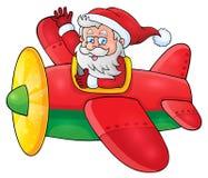 Santa Claus in beeld 1 van het vliegtuigthema Royalty-vrije Stock Foto