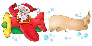 Santa Claus in beeld 6 van het vliegtuigthema Royalty-vrije Stock Foto's