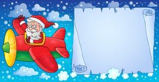 Santa Claus in beeld 8 van het vliegtuigthema Stock Foto