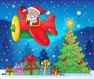 Santa Claus in beeld 9 van het vliegtuigthema Stock Afbeeldingen