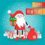 Santa Claus-beeldverhaalkarakter met giftdozen Stock Afbeelding