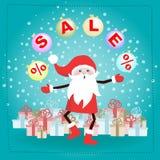 Santa Claus-beeldverhaalkarakter met giftdozen Stock Afbeeldingen