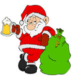 Santa Claus With Beer. Hand drawn cartoon St. Nick enjoy a cold beer Royalty Free Stock Images