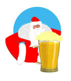 Santa Claus and beer. Christmas beer mug. New Year alcohol Stock Images
