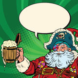 Santa Claus beer in the Irish pub. Pop art retro vector illustration. New year and Christmas Royalty Free Stock Images