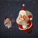 Santa Claus begins the delivery of gifts Royalty Free Stock Image
