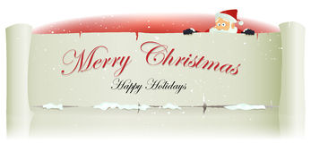 Santa Claus Behind Merry Christmas Parchment Backg Royalty Free Stock Photography