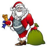 Santa Claus with a bell and bag Stock Photos