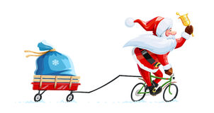 Santa claus with bell at bicycle. Christmas cartoon character. Stock Photography