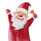 Santa Claus with a bell. Cheerful Santa Claus with a bell, watercolor illustration Stock Photography