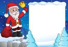 Santa Claus with bell theme frame 3 Royalty Free Stock Image