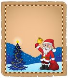 Santa Claus with bell theme parchment 5 Stock Image