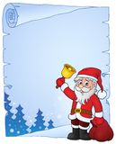 Santa Claus with bell theme parchment 4 Royalty Free Stock Images