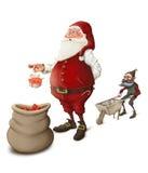 Santa Claus bereitet Geschenke vor Stockfotografie
