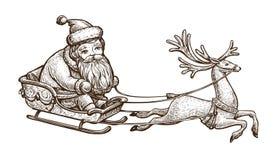 Santa Claus berijdt in een ar Kerstmistak en klokken Uitstekende schets vectorillustratie vector illustratie