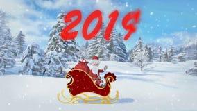 Santa Claus berijdt over het bos in een ar met giften Vrolijke Kerstmis en Gelukkige Nieuwjaar 2019 animatie Naadloze lijn vector illustratie