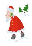 Santa Claus beschäftigt, eine Weihnachtsbestellung an einem Handy entgegennehmend Lizenzfreies Stockfoto