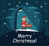 Santa Claus bevindt zich met een gift in de handen van de nacht onder een straatlantaarn Vector Stock Foto's