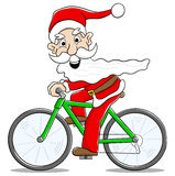 Santa claus on bicycle delivering christmas gifts Royalty Free Stock Photo