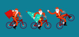 Santa Claus on bicycle set. Red bag and Christma tree. Happy New Stock Photo