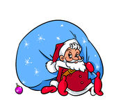 Santa Claus a big bag of gifts cartoon Stock Photography