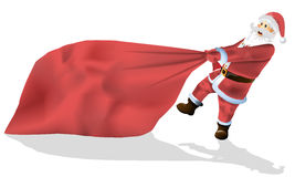 Santa Claus is a big bag of gifts isolated on. White vector stock illustration