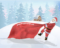 Santa Claus is a big bag of gifts. Vector illustration stock illustration