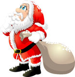 Santa claus. With a big bag on a white background stock illustration