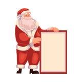 Santa Claus with a big blank board Royalty Free Stock Photo