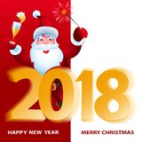 Santa Claus with big board. Merry Christmas and Happy New Year. Royalty Free Stock Photo