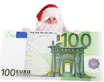 Santa Claus and big euro. Isolated Stock Photography