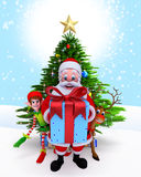 Santa Claus with a big gift box. Stock Image